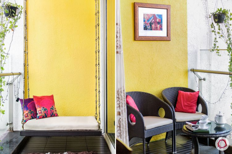 painting ideas-yellow balcony-swing-balcony furniture