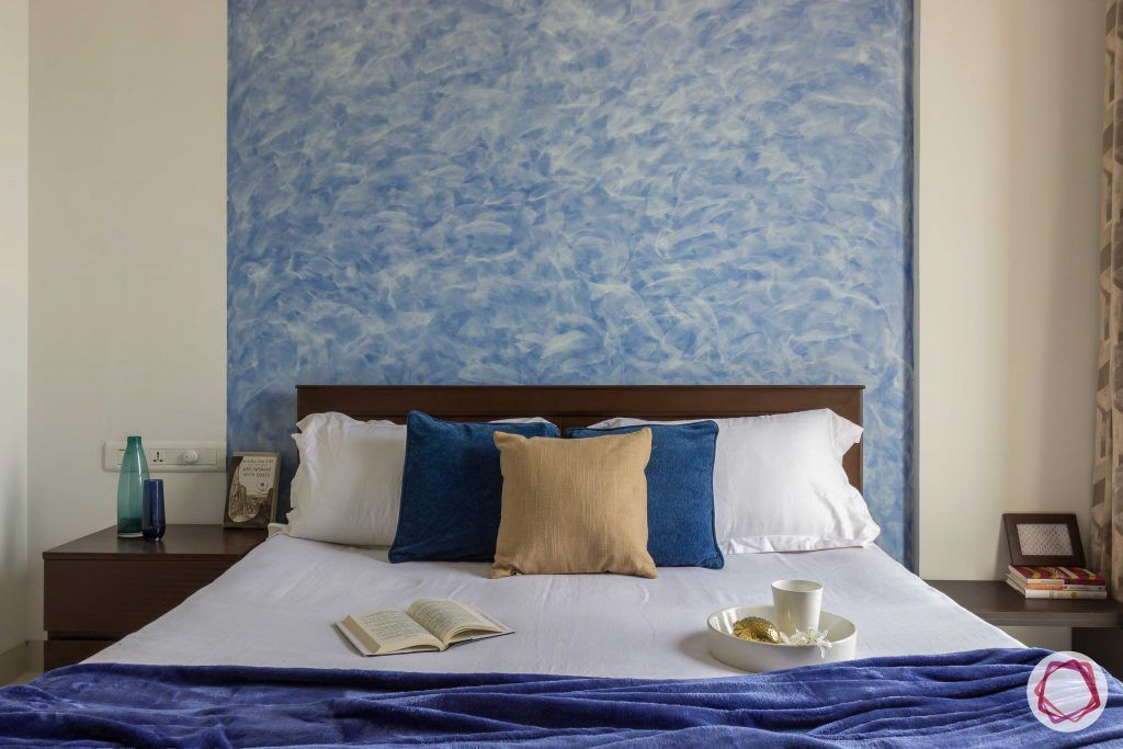bachelor pad interior design blue centre wall