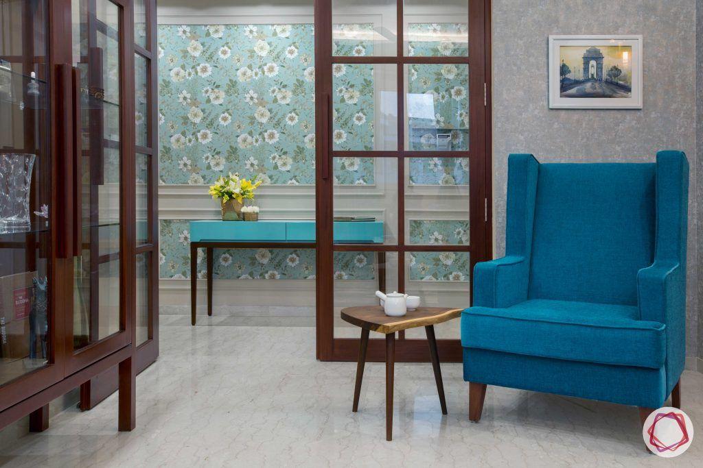 Prateek Stylome-wooden door designs-blue armchiar designs