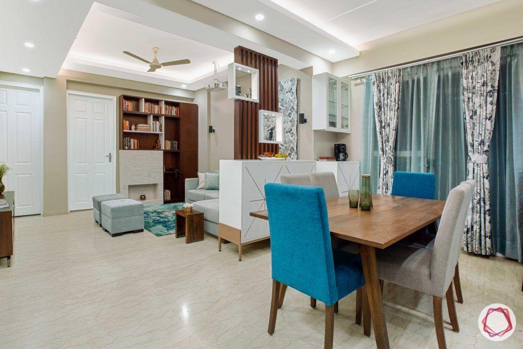 Prateek Stylome-dining set designs-blue curtain designs