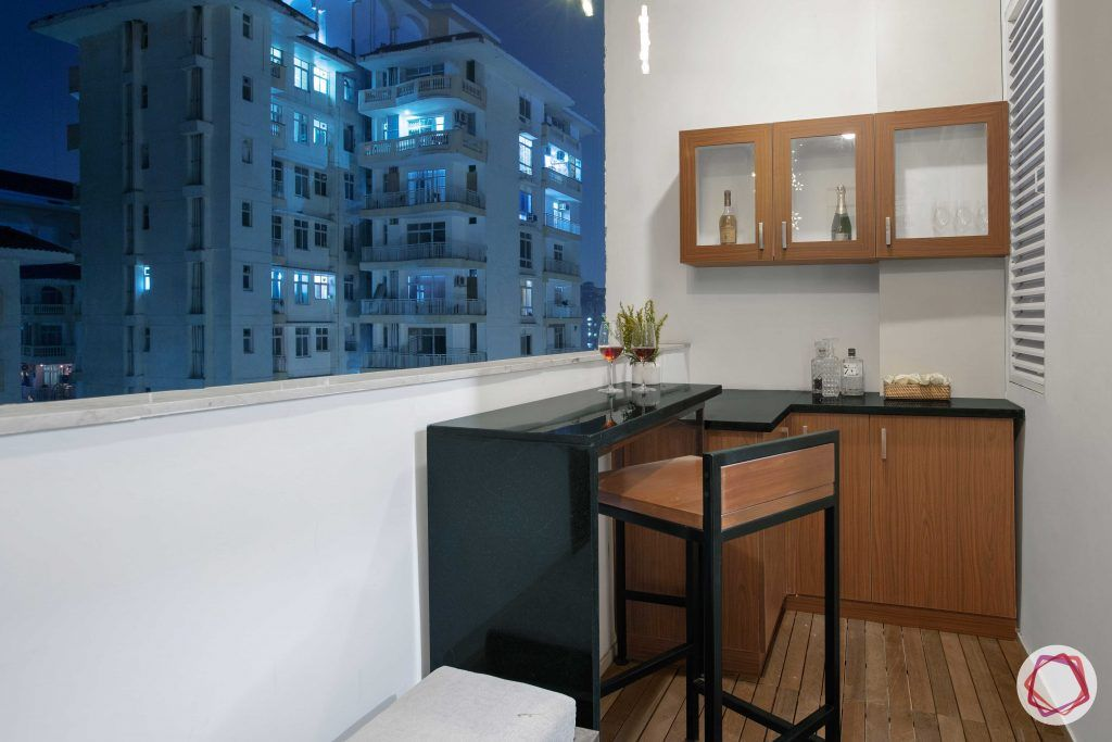 Prateek Stylome-bar unit in balcony-sky deck designs