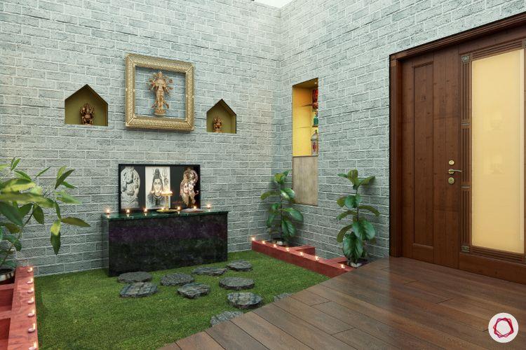 room decor ideas pooja wood and stone