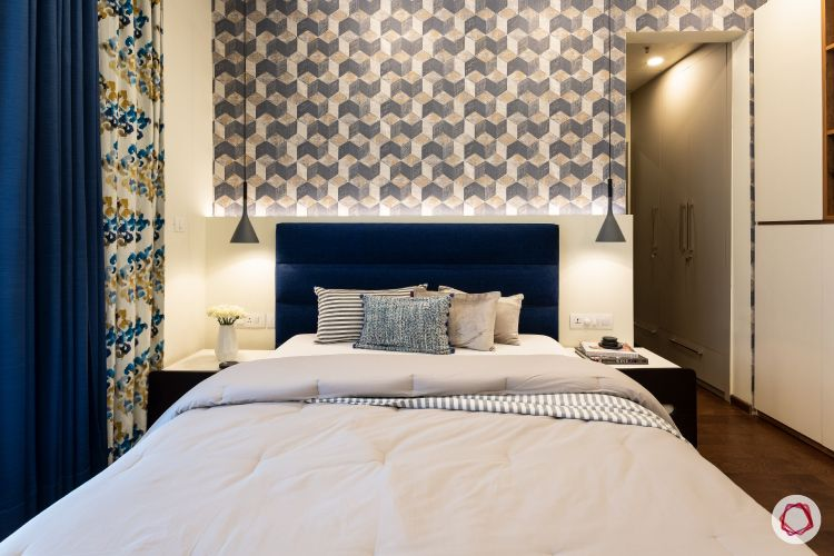 Beautiful home interiors_daughter room bed and wallpaper