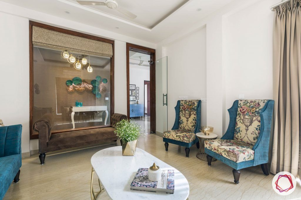 duplex house design armchairs table