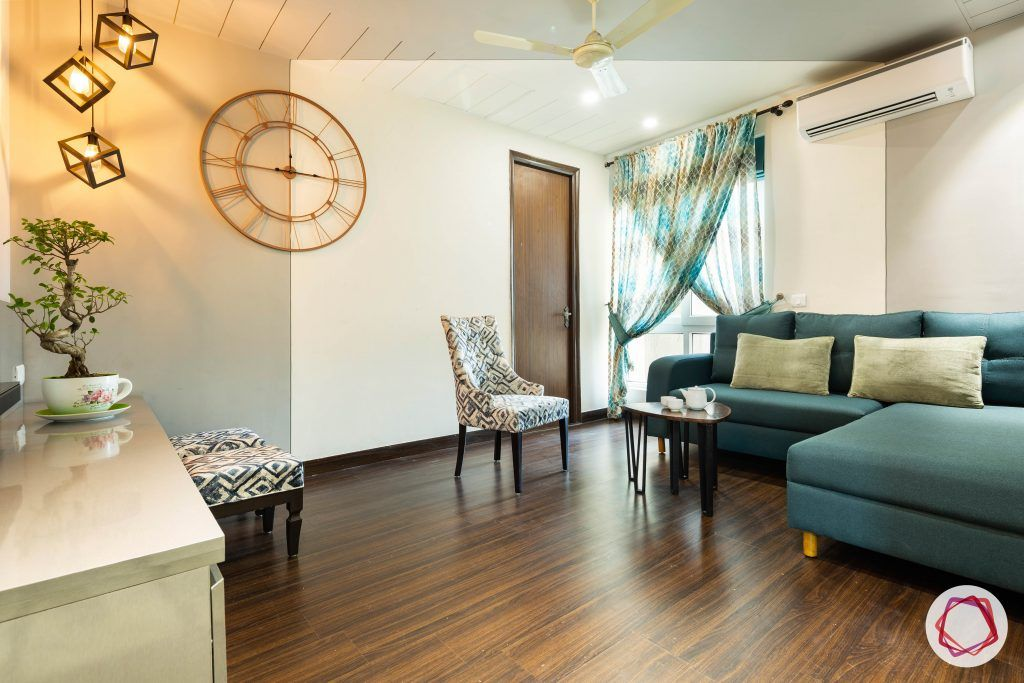duplex house design teal sofas