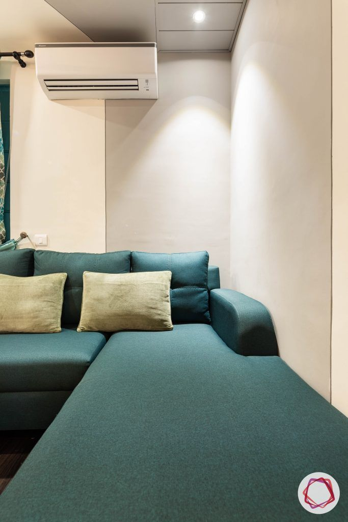 duplex house design teal L shape sofa
