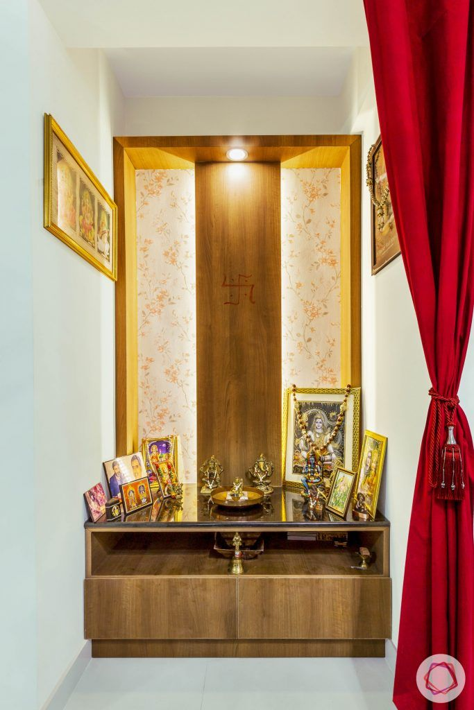 Pooja-Room-Design-Wooden-with-Shelf