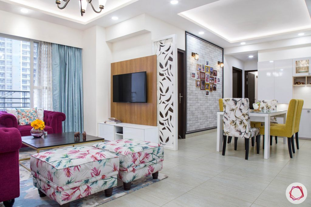 Cleo county noida_home entrance view with combined living and dining room
