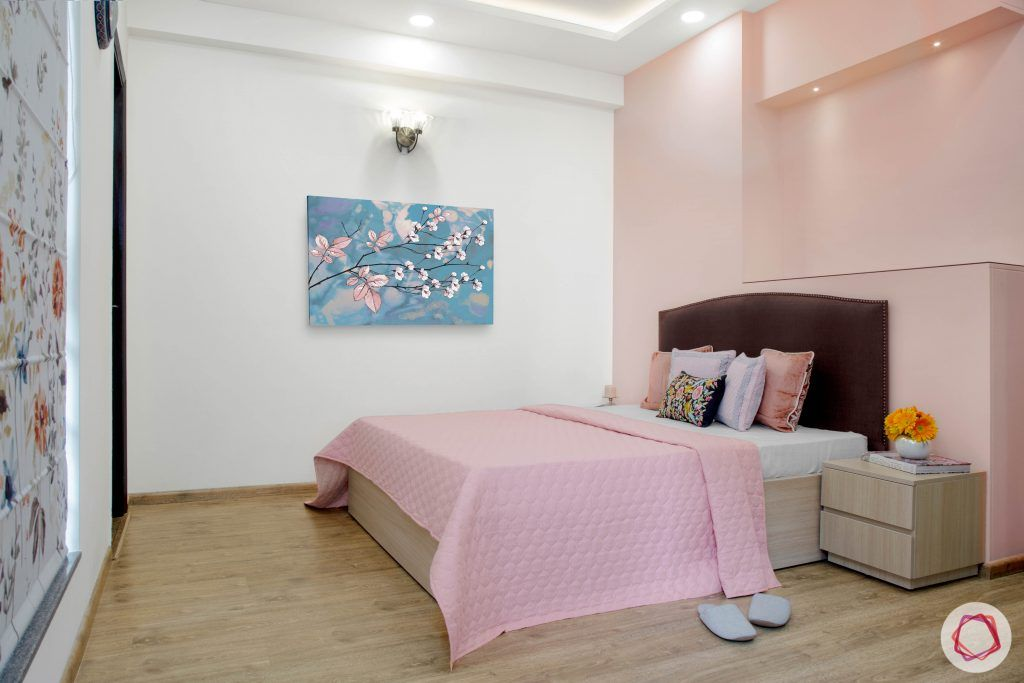 Cleo county noida_peach pink room full view