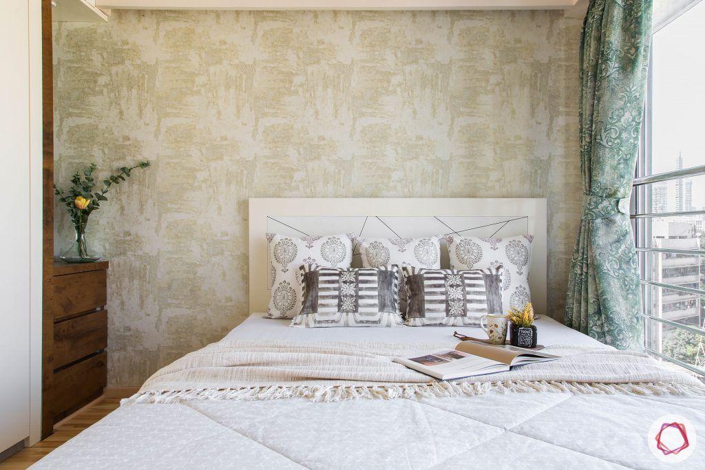 2BHK interior_green wallpaper