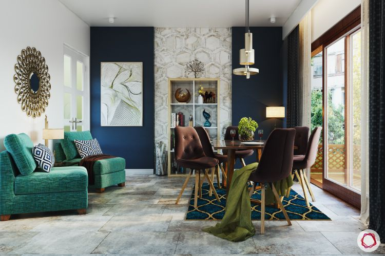 wall paint colours-dining room-dark blue wall-casual seating-pops of colour