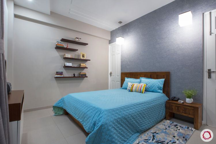 wall paint colours-blue grey bedroom wall-wooden bed-indian home