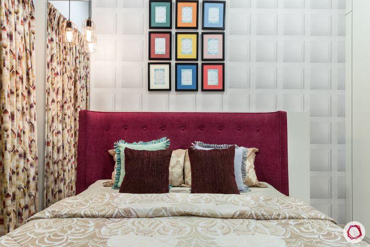 livspacehomes-low budget house-master bedroom-fabric headboard-geometric wallpaper-artsy