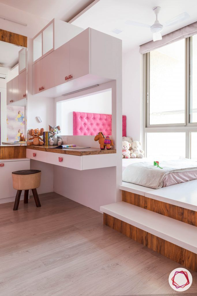vastu for kids room-white-woodwork pink-bed wooden-flooring