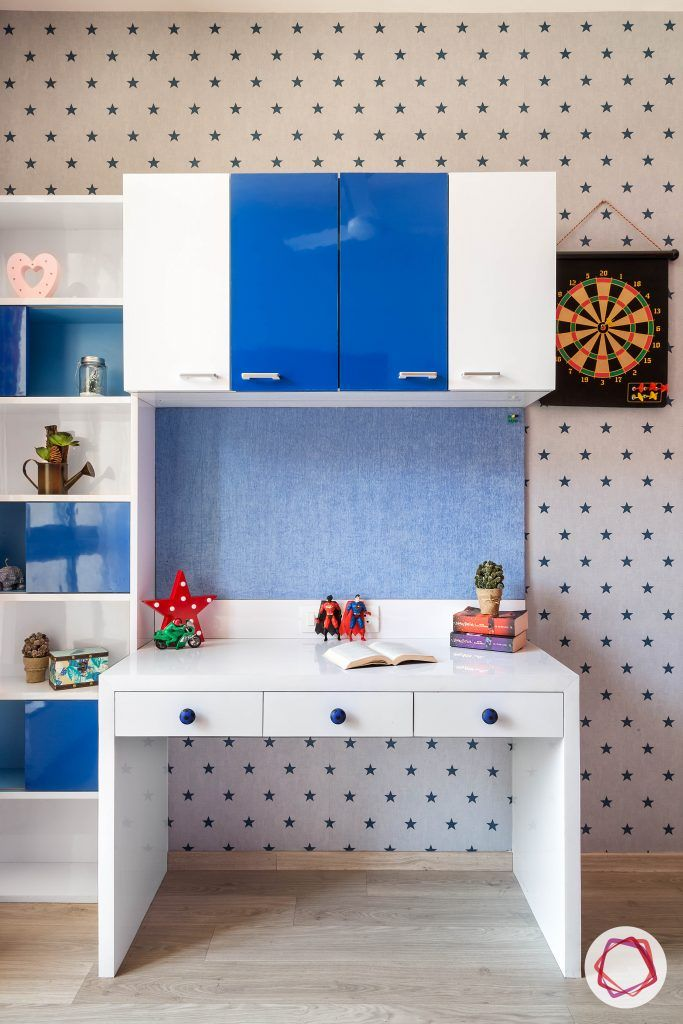 vastu for kids room-white-study-table kids-study-cabinet kids-room-wallpaper