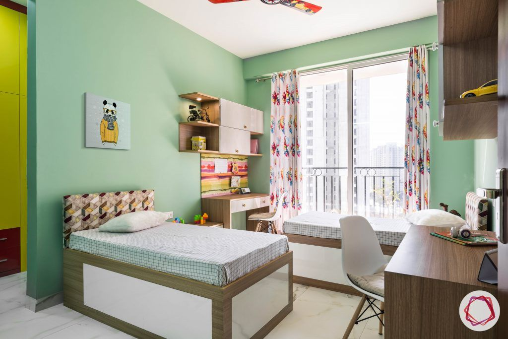 vastu for kids room-green-wall-paint twin-beds twin-study-tables