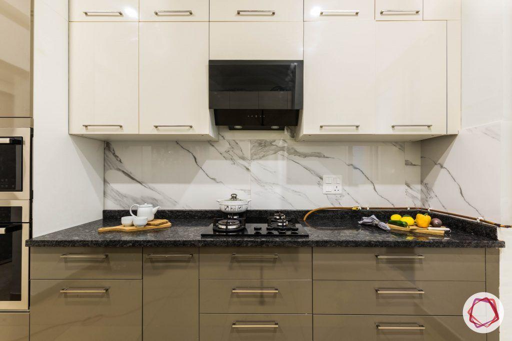 flat interior design-parallel kitchne-white mocha cabinets-high gloss laminate-satvario tiles