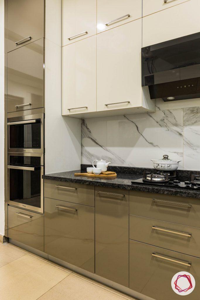 flat interior design-parallel-parallel layout kitchen-high gloss laminate cabinets-stove-backsplash satvario tiles