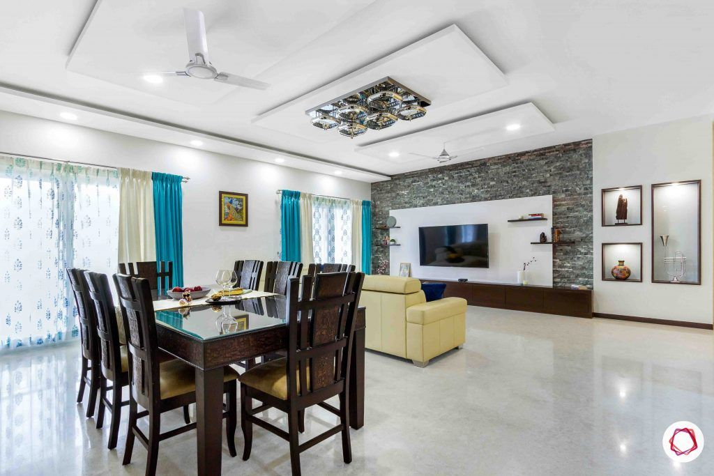 sobha forest view-living room-dining-room-white walls