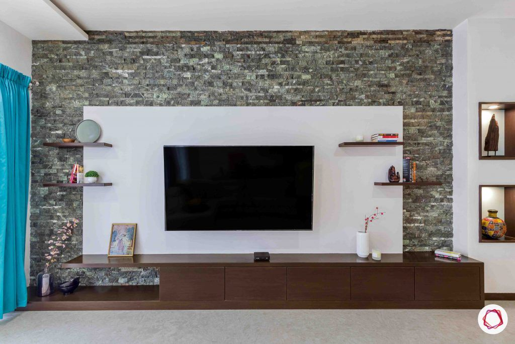 sobha forest view-tv unit-stone wall cladding-wall ledges-wall niches