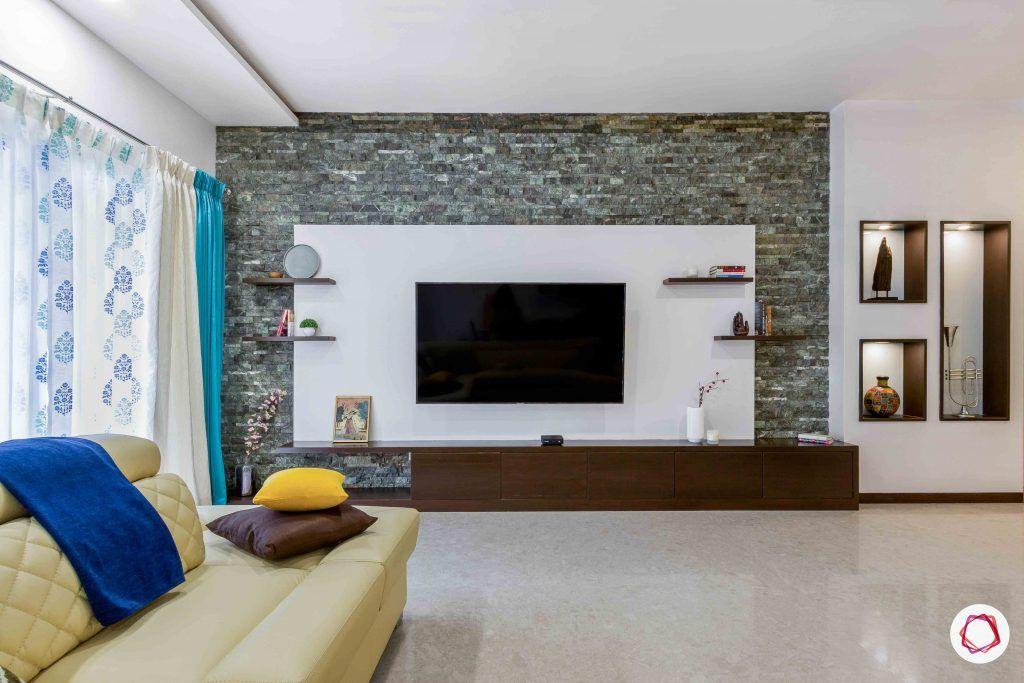 sobha forest view-tv unit-stone wall cladding-pu finish-wall ledges-base storage unit