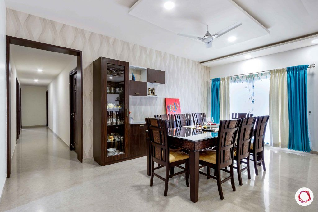 sobha forest view-dining room-wooden dining table-chairs-crockery unit