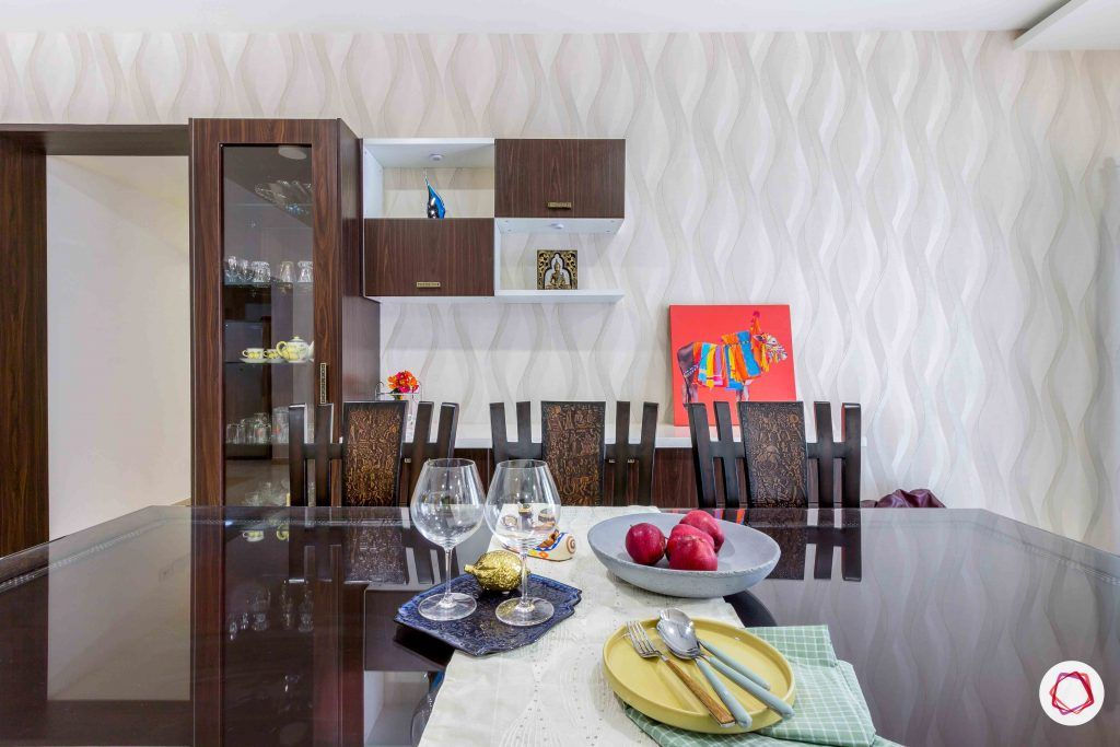 sobha forest view-dining room-pattern wallpaper-crockery unit-cabinets