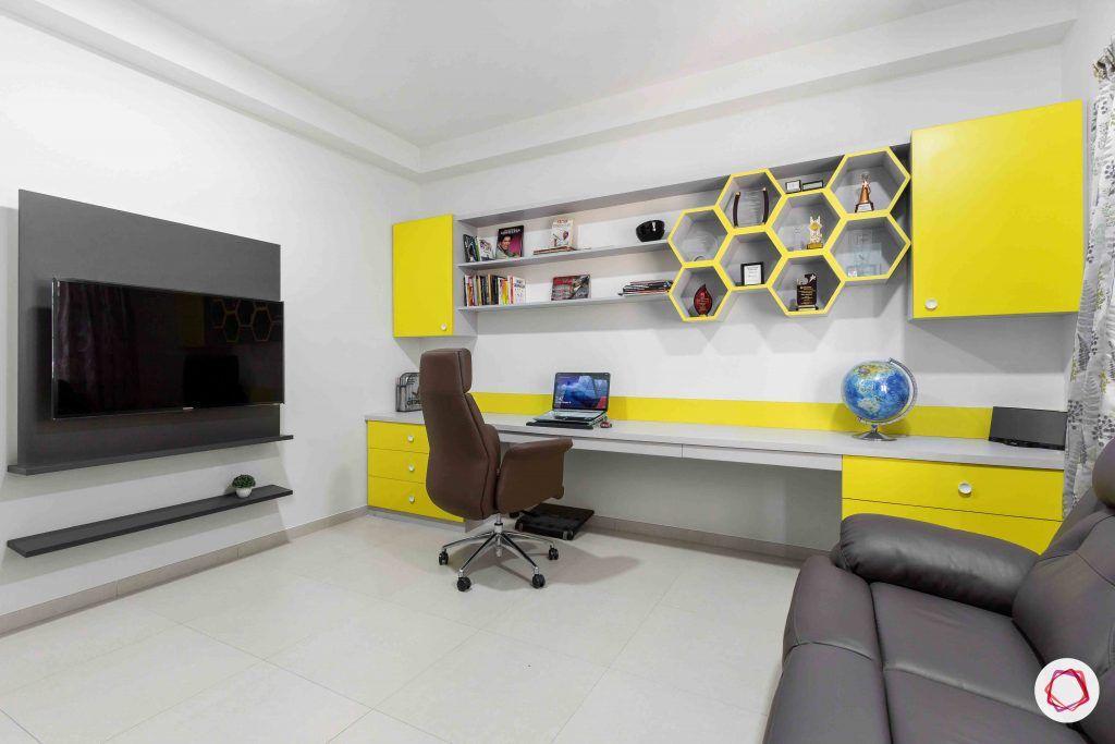 sobha forest view-study room-big study table-tv unit