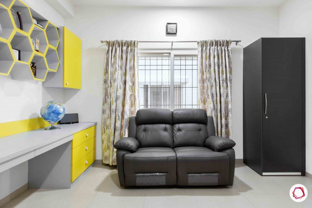sobha forest view-study room-big study table-honeycomb design-recliner