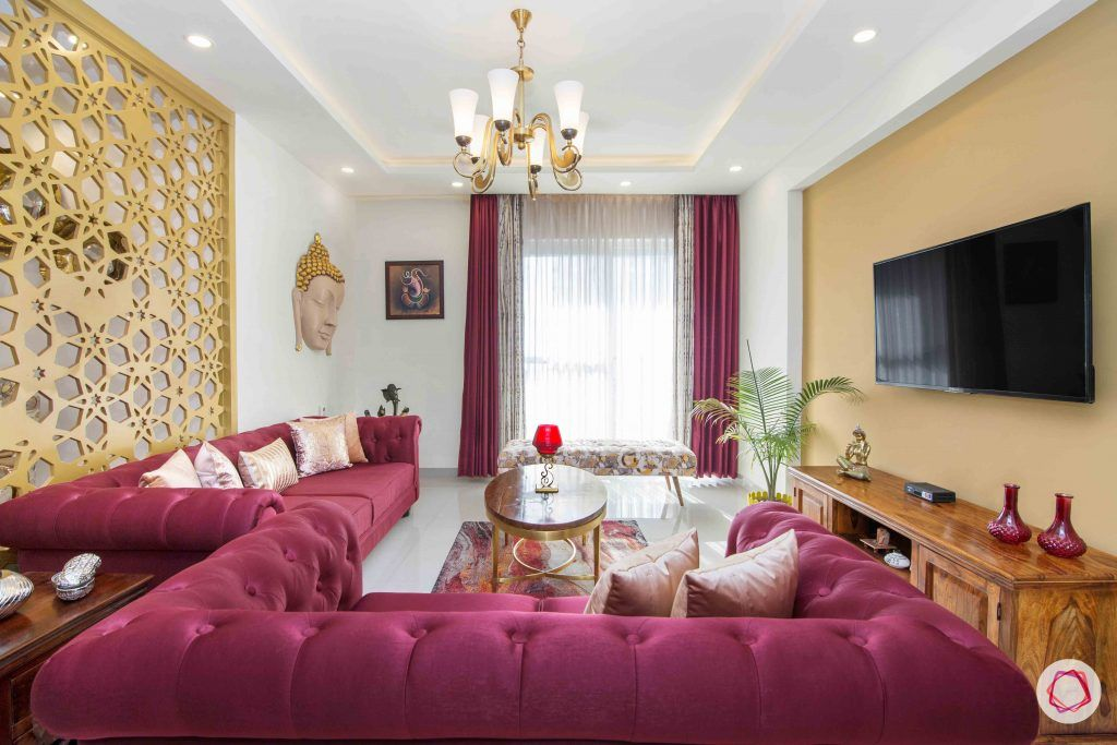 3 bedroom flat design-tufted sofa-art silk sofa-jaali designs-chandelier designs-living room designs