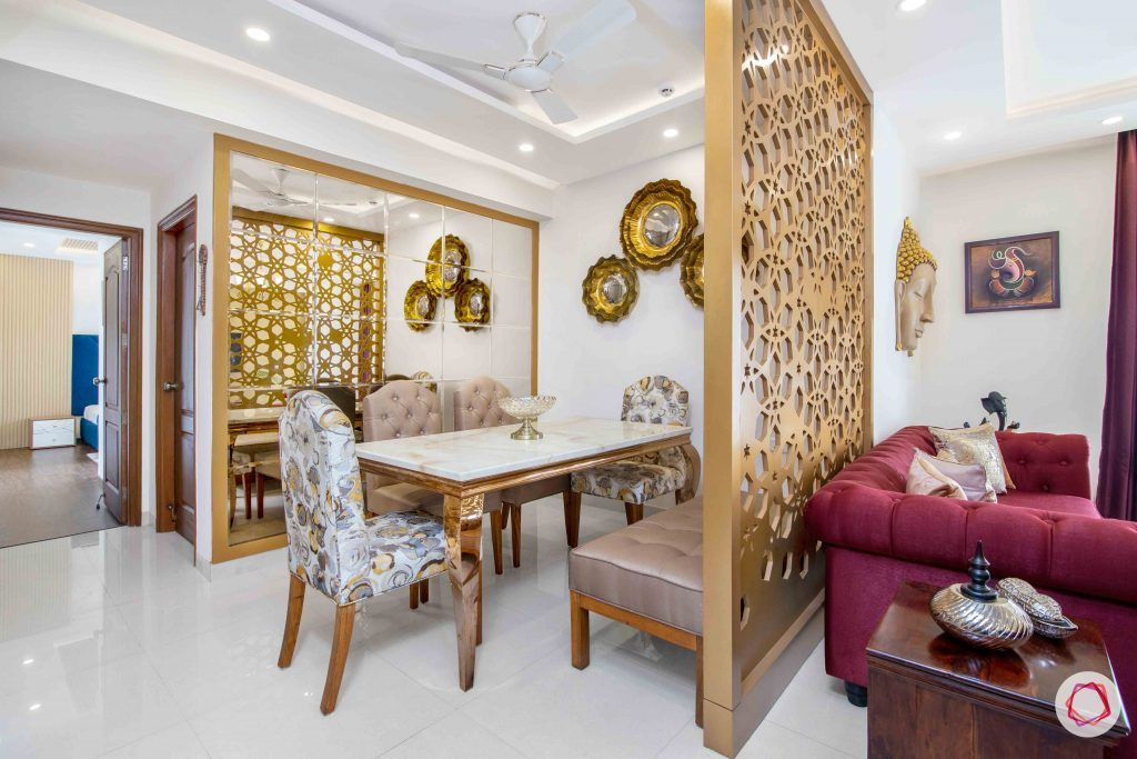 3 bedroom flat design-jaali designs-dining room designs-mirrored wall panel-marble tabletop
