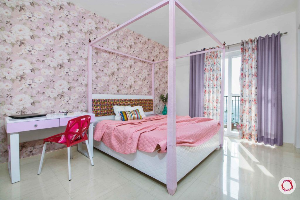 3 bedroom flat design-girls bedroom ideas-four poster bed-wallpaper for girls room-pink girls room