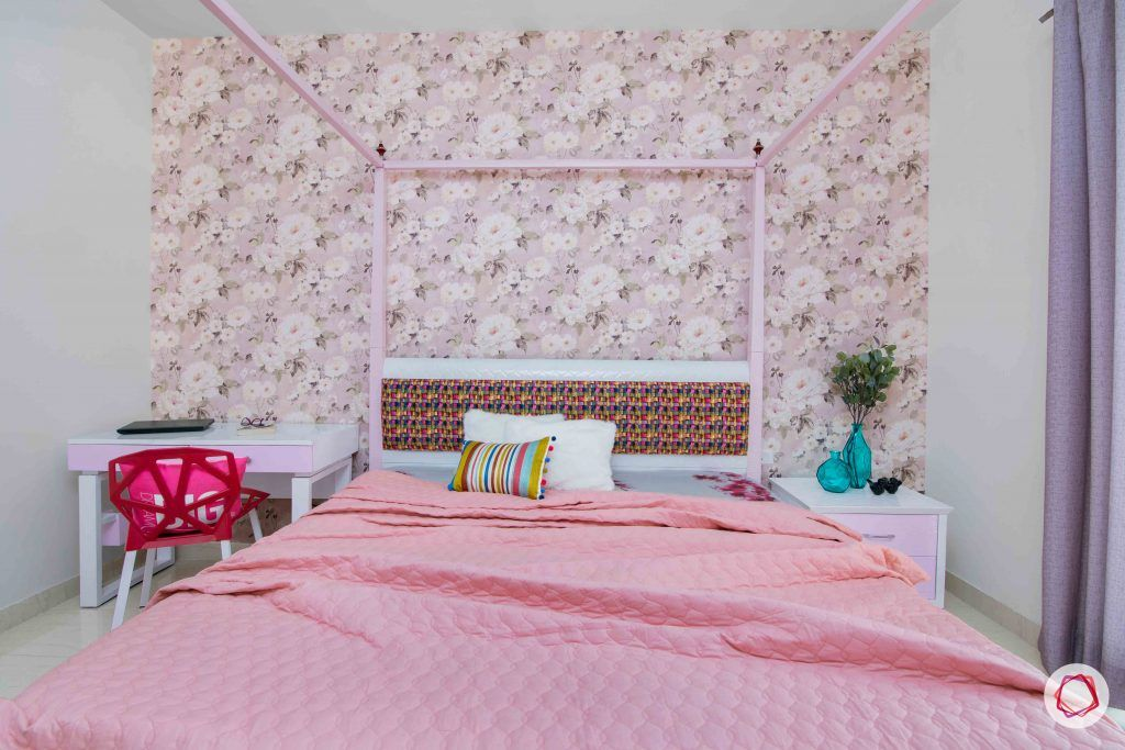3 bedroom flat design-girls bedroom ideas-floral wallpaper-pink laminate furniture