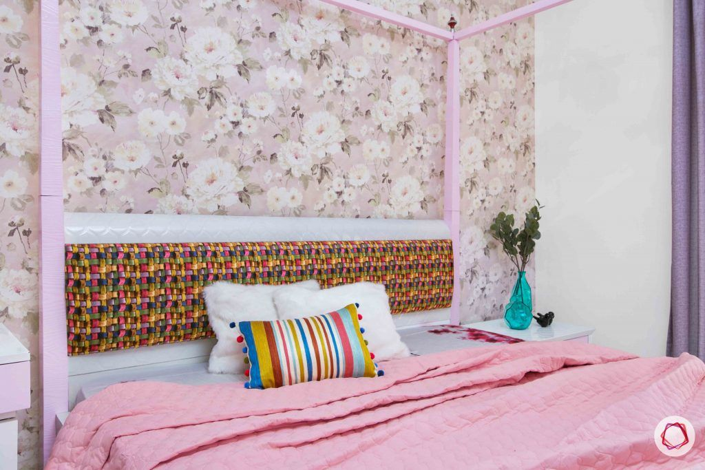 3 bedroom flat design-headboard designs-colourful headboard designs-headboards for girls-beds for girls room-floral wallpaper