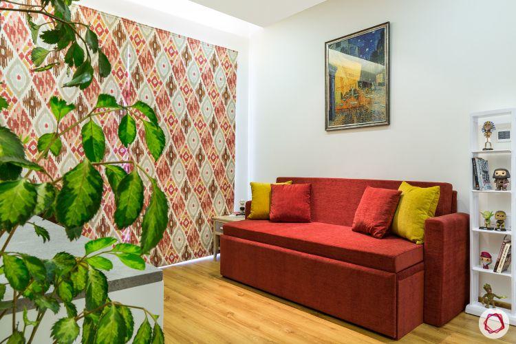 small space interior design-red sofa-couch designs- sofa-cum-bed
