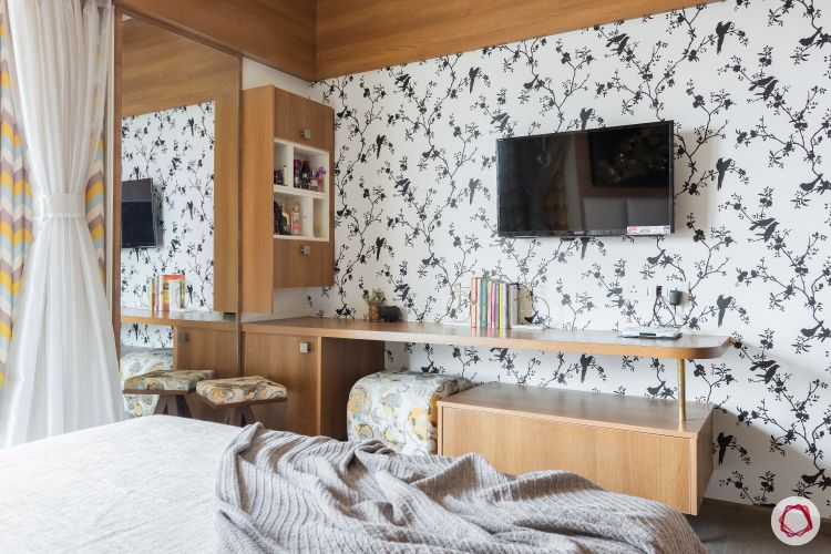 small space interior design-white wallpaper-media wall designs-nested stool