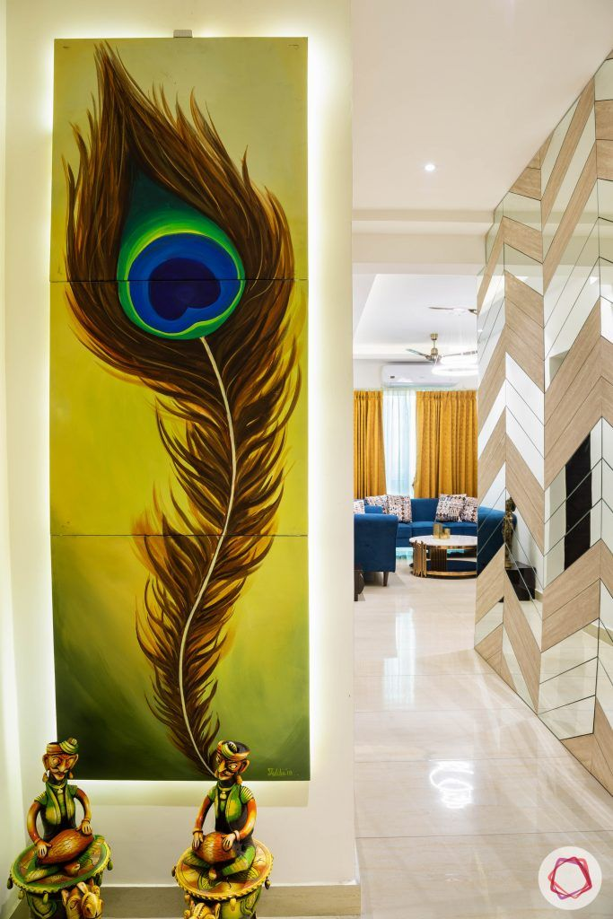 3 bhk flat-home entrance-foyer-wall painting-peacock feather painting
