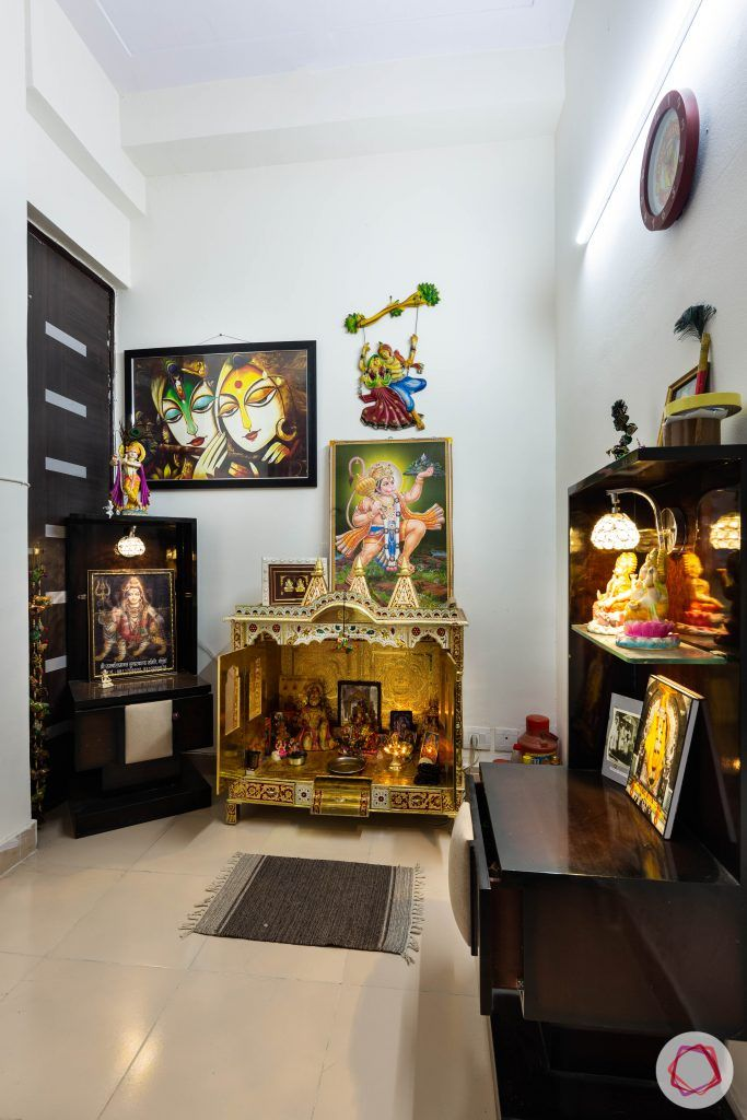 3 bhk flat-pooja room-puja room-white walls-floor tiles