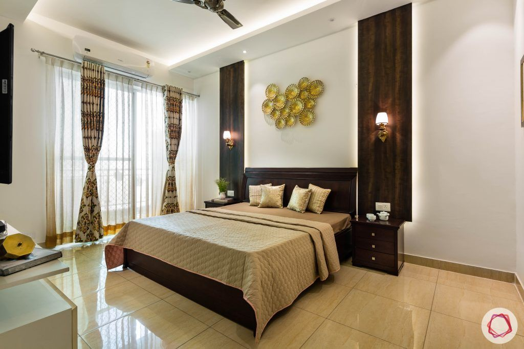 3 bhk flat-master bedroom-full room-wooden tones-veneer panels