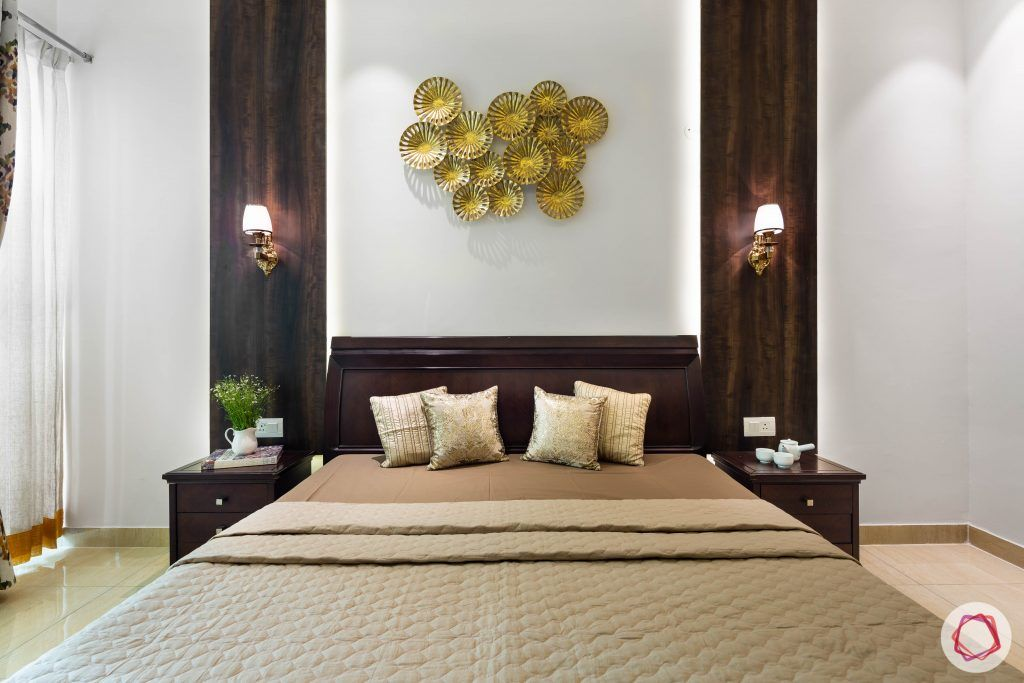 3 bhk flat-master bedroom-bed-veneer panels-wall art