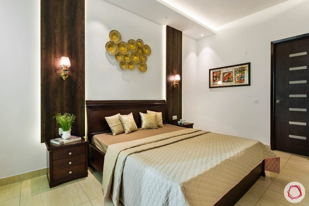 3 bhk flat-master bedroom-bedside tables-veneer panels-lamps