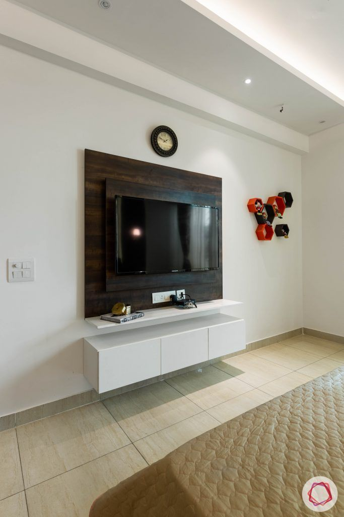 3 bhk flat-tv unit-veneer panel-wall shelves-base units