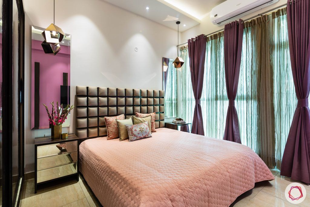 3 bhk flat-bedroom-layered curtains-dressing tables-mirrors-pendant lights