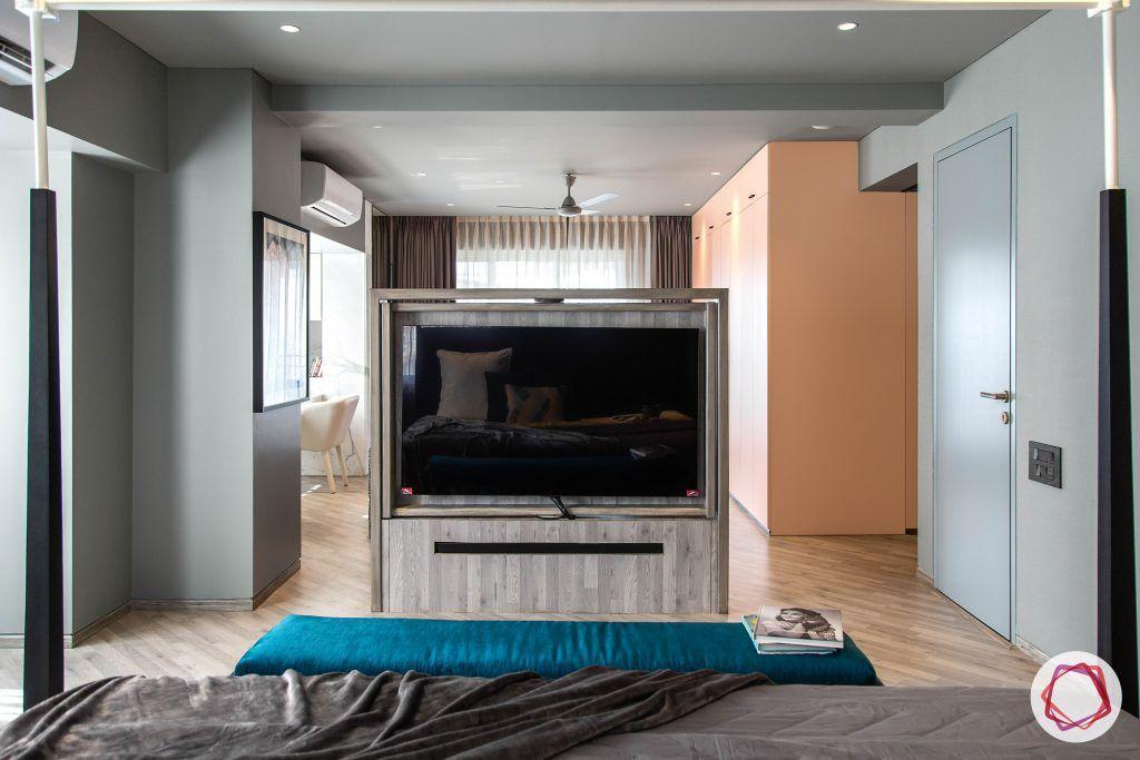 4bhk house plan-master bedroom designs-wooden flooring designs-bedroom tv cabinet-rotating tv-room partition designs