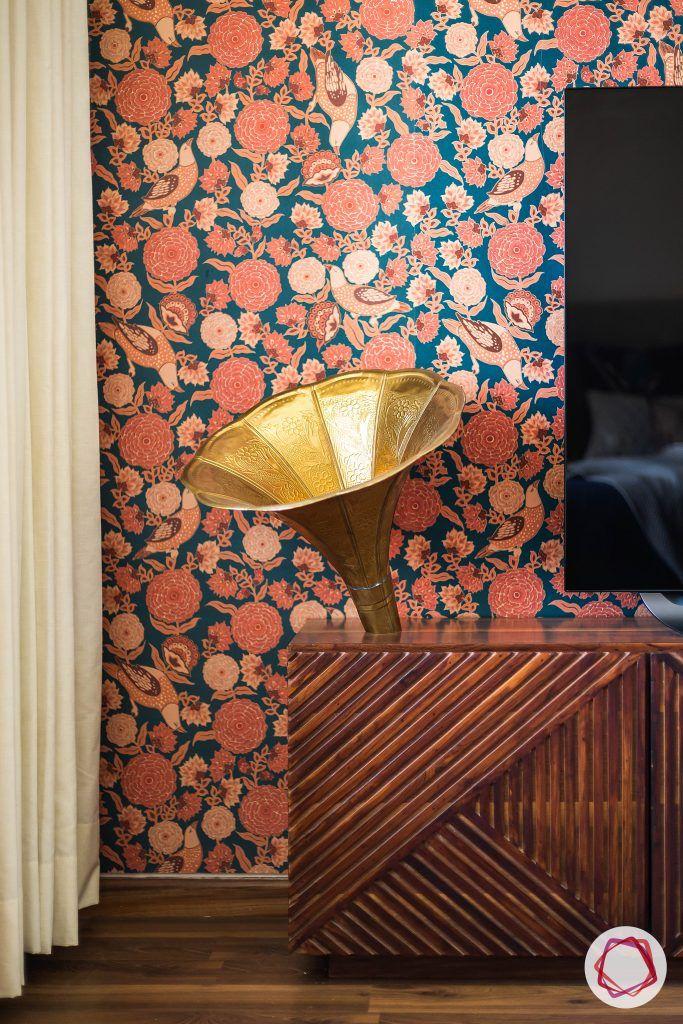 floral print-ed wallpaper designs-wooden console designs