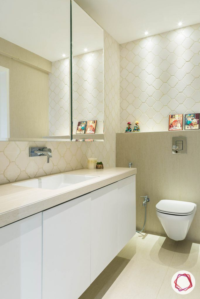 4bhk house plan-bathroom designs-bathroom tiles-moroccan tiles-vanity unit-mirror
