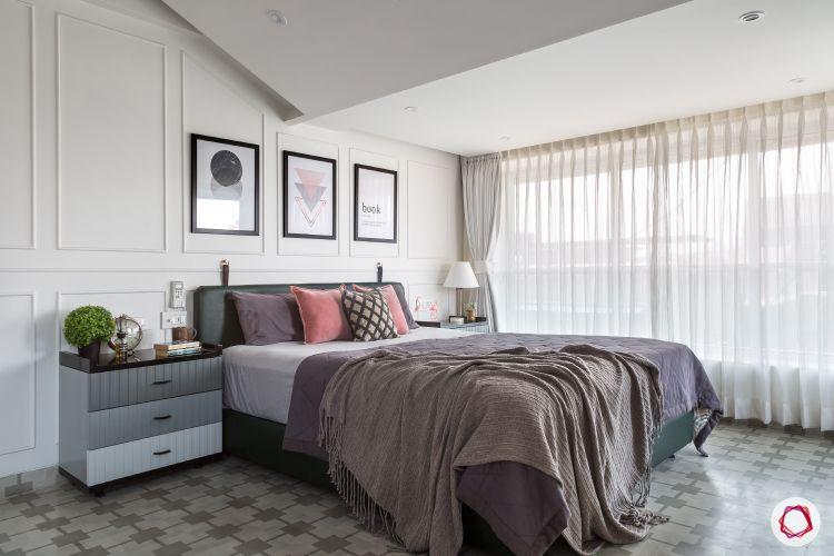 minimalism-scandinavian bedroom-scandinavian design-wall moulding design-sheer curtain designs