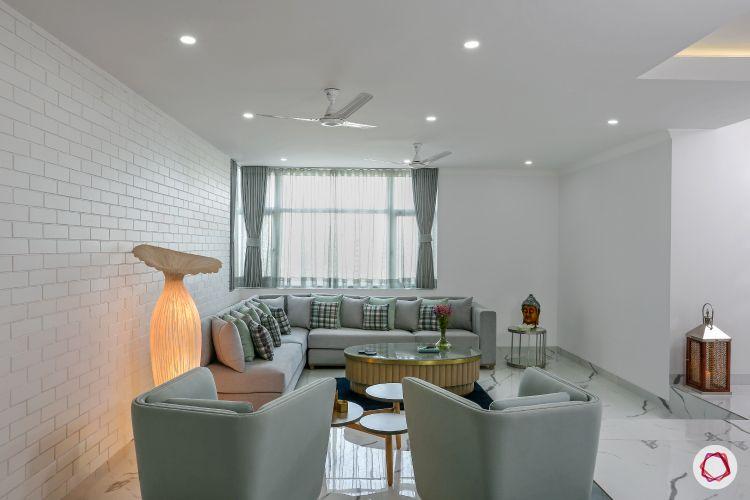minimalism-white wall ideas-white exposed brick wall-grey sofa set-l shaped sofa designs