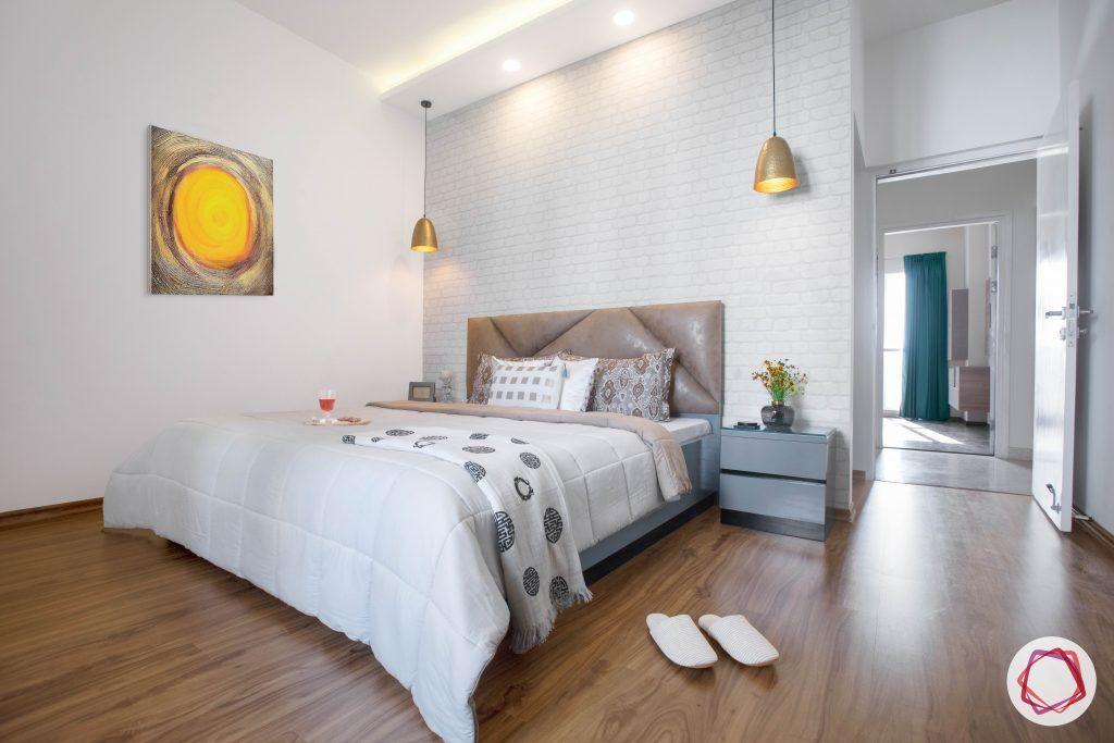 minimalism-white exposed brick wall-wooden floor designs-scandinavian decor