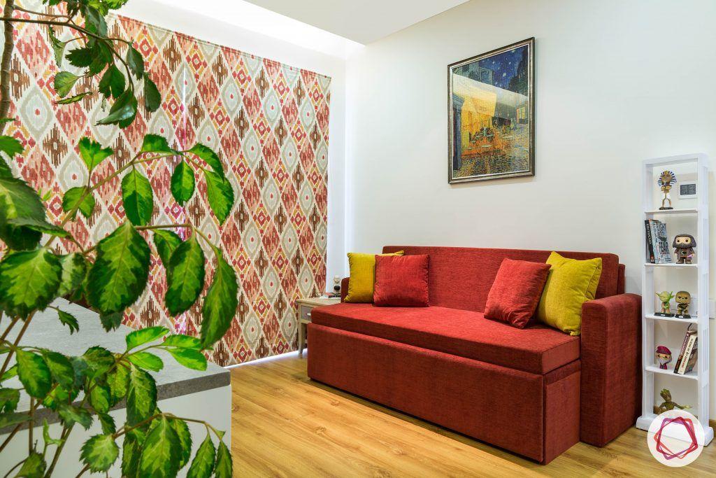 minimalism-minimal decor-sofa-cum bed designs-ladder cabinet designs-wooden flooring designs-red sofa designs